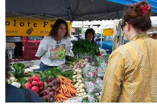 Katie Kraemer-Pitre of Tecolote Farm happily talking with a farmers market customer